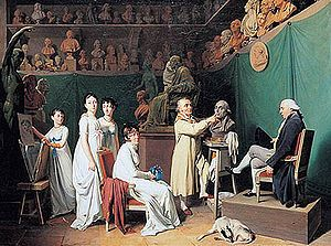 Jean Antoine Houdon at work in his atelier, 1804, by Louis Léopold