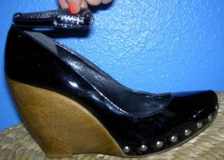 Kat Dennings The House Bunny Black Patent Leather Shoes with Studs