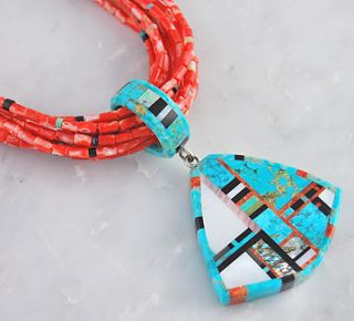 Christopher Neito Sterling Silver Turquoise & Coral Necklace Santo