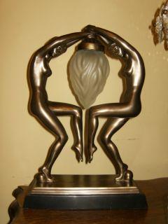 Vintage Retro Art Deco Twin Naked Ladys Statue Sculpture Lamp Needs