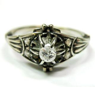 Antique Art Deco 18K White Gold Diamond Ring