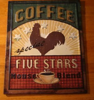 Red Rooster Coffee Cafe Shop Country Kitchen Decor Embossed Wall