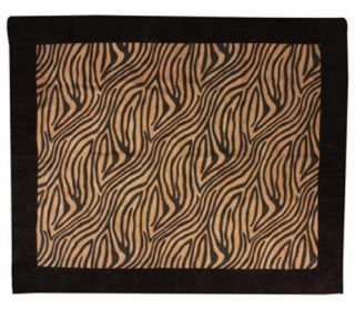 Zebra Animal Print Faux Suede Floor Area Rug or Throw 60 x 50