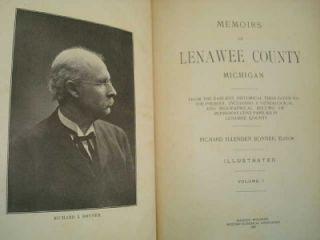 1909 Lenawee County MI Historical Memoirs 2 Vol Books Adrian Hudson