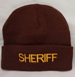 Deputy Sheriff Police GOLD on BROWN Warm Winter Uniform Duty Knit