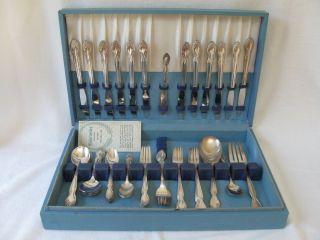 63 Pcs Wm Rogers Lady Densmore Basque Woodland Rose Silver Set