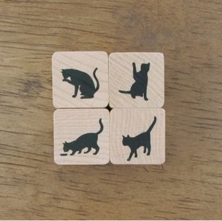 Decorative Stamps Rubber Stamp Silhouette Cats Set 4ea