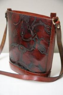 Dillards Italian Leather Western Style Tooled Purse Bag Tote Satchel
