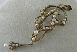 VINTAGE, antique,PENDANT, 14k, kt, GOLD, Seed Pearl, Art Nouveau,Gold