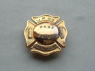 ANTIQUE GARDENVILLE NEW YORK FIRE DEPARTMENT PAST FIRE CHIEF BRASS HAT