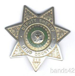 DEPUTY SHERIFF BADGE KING COUNTY WASHINGTON STATE