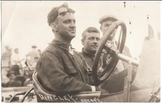 RPPC Vintage Antique Auto Automobile Car Racing Bert Dingley
