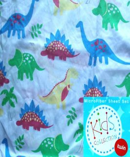 DINOSAURS COLLECTION PALE BLUE 3PC TWIN SHEETS BEDDING SET NEW