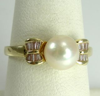 14k Yellow Gold Ring Cultured Pearl CZ Baguettes Size 7
