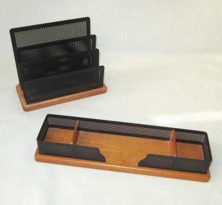 Piece Newell Office Products Desk Organizer Set Accessory Metal Wood