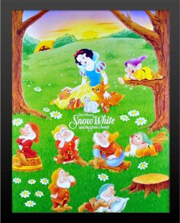 Framed Snow White Seven Dwarves Print High Quality 2 Black Wood Buy