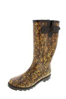 Dirty Laundry New Raindrop Tan Leopard Print Mid Calf Rain Boots Shoes