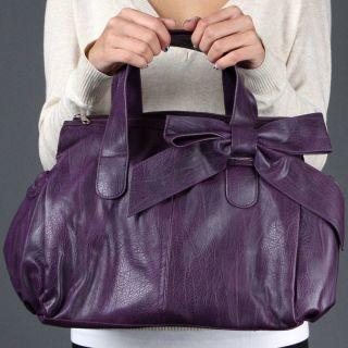 Purple Bow PEBBLED Designer Inspired Satchel Shoulder Handbag