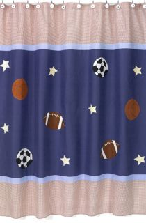 Peri kids 72 x 72 fabric shower curtain blue white stripe for Boys curtain material