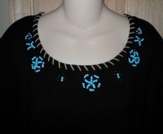 Designers Originals Sz L Black Knit Shirt Turquoise Beading 3 4