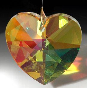 40mm Swarovski Austrian Crystal 8781 40 Amber AB Heart Prism w Logo