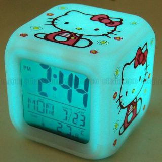 Hello Kitty Cute Cubic LCD Desktop Alarm Clock Thermometer Flash Glow
