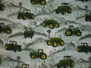 JOHN Deere green TRACTOR farm house WINDMILL cotton fabric SEW Your
