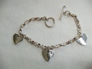 Vintage Sterling Silver 3 Sweet Heart Charm Bracelet Toggle Clasp 19