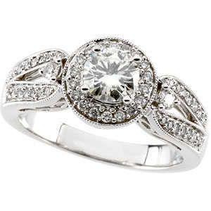 90 Ct Round Moissanite Diamond Engagement Ring