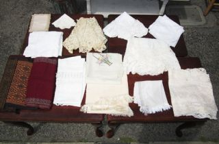 Lot Vintage Lace Linen Embroidered Table Runners Doilies Round