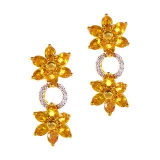 14k Yellow Gold Yellow Sapphire Diamond Drop Earrings
