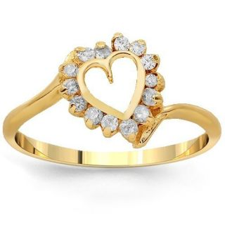 Avianne Co 14K Yellow Gold Womens Diamond Heart Ring 0 10 Ctw