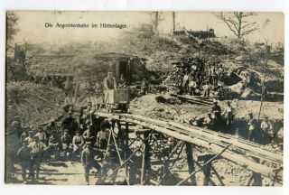 WWI German Photo Postcard Soldiers with Small Rail Cart in Argonne