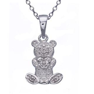 Silver .05ct Genuine Diamond Teddy Bear Charm Pendant 18 Necklace