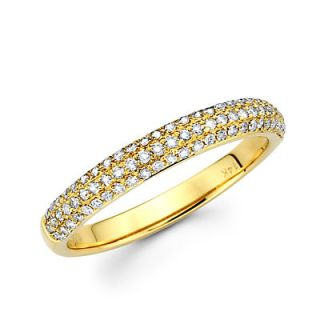 14k Yellow Gold Round Diamond Pave Dome Ring Band 42ct