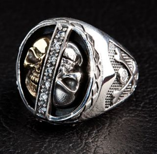 Diamond 14k Yellow Gold Skull Crossbones 925 Sterling Silver Ring Sz 9