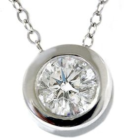 Diamond Bezel Burnish Set Solitaire Pendant 14K White Gold Necklace