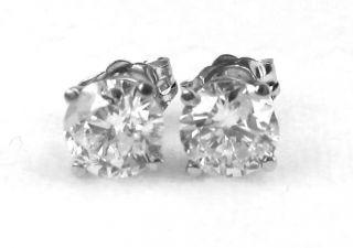 Round Diamond Stud Earrings 14k White Gold 1 35 Ct H I2