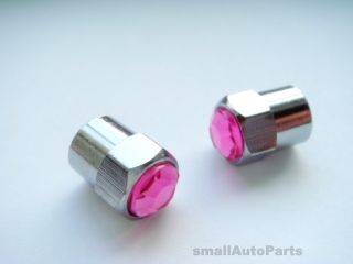 Crystal PINK Diamond Tire Wheel Stem VALVE CAPS for Motorcycle Bike