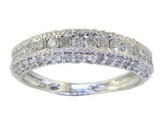 Pave Set 0 90 CTW Round Diamond Jewelry White Gold Wedding Anniversary