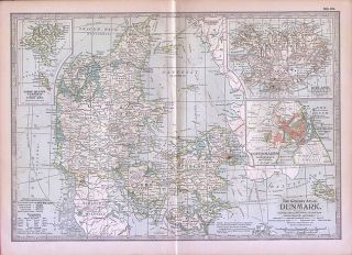 Denmark Authentic Antique Map Copenhagen Iceland 32x43cm Genuine Made