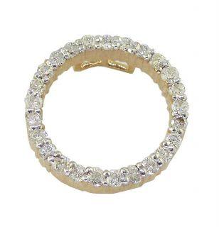 Round Cut Diamond Jewelry Yellow Gold Circle Pendant Necklace