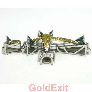 14k White Gold Color Diamond Mens Ladies Cross Pendant Charm 3 50