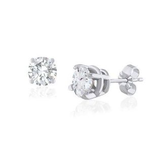 Round Cut 0.30Ctw Diamond Jewelry White Gold Solitaire Stud Earrings
