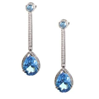 14k White Gold Topaz and Diamond Drop Earrings