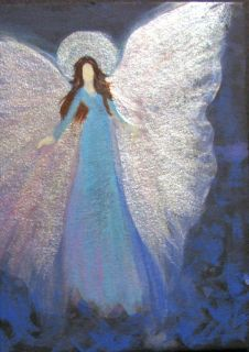 ACEO Cape Cod Artist Original Acrylic Painting Healing Energy Angel