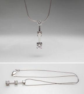 Three Stone Diamond Drop Pendant Necklace Solid 14K White Gold Jewelry