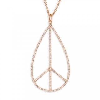 Large Rose Gold & Diamond Tear drop Peace Sign Charm Pendant