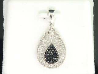 Gold Black Diamond Teardrop Pendant Charm for Necklace 25 Ct
