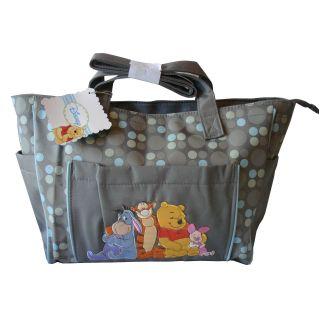 Winnie The Pooh Baby Boys Girls Gray Large Modern Diaper Bag